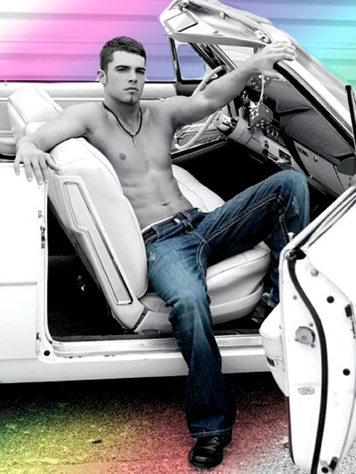 Hot men shirtless in a white car