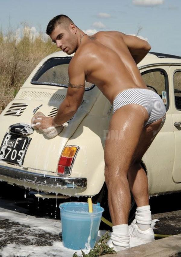 Hot dude in car-washing