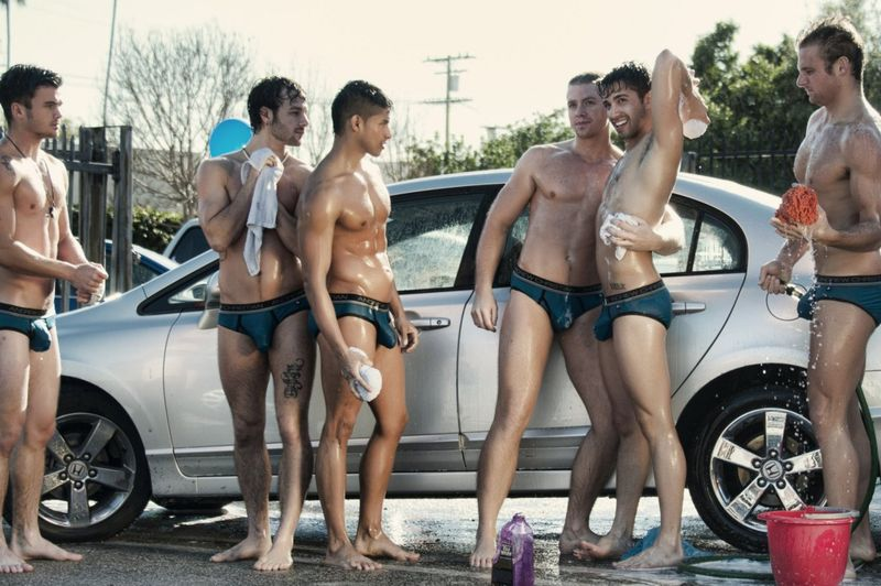 Car wash by male models for Andrew Christian